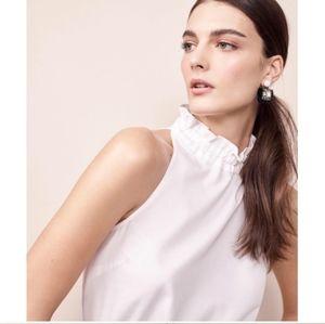 Ann Taylor Ivory Ruffle Neck Blouse Tank Shirt XS